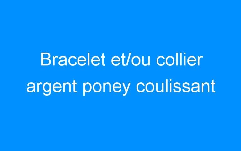 Bracelet et/ou collier argent poney coulissant