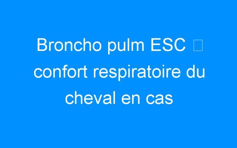 Broncho pulm ESC ⇒ confort respiratoire du cheval en cas d'infections