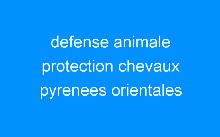 defense animale protection chevaux pyrenees orientales
