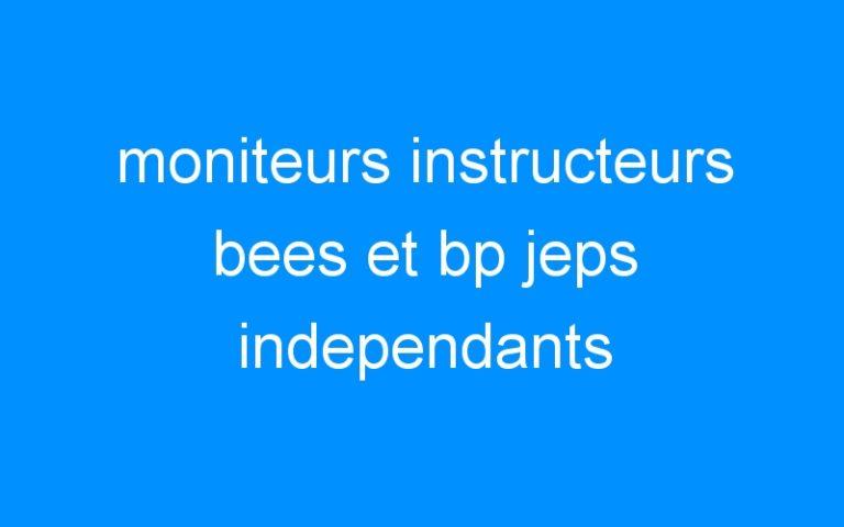 moniteurs instructeurs bees et bp jeps independants