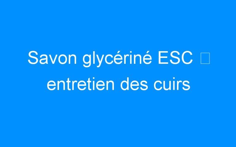 Savon glycériné ESC ⇒ entretien des cuirs