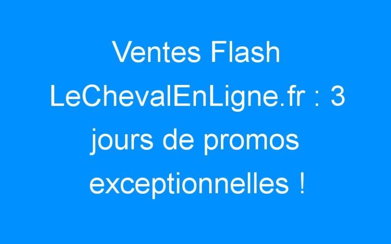 Ventes Flash LeChevalEnLigne.fr : 3 jours de promos exceptionnelles !